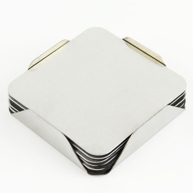 6 Pcs Stainless Steel Drinks / Coasters Set