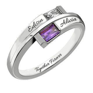 Personalized Couples Name & Birthstone Ring