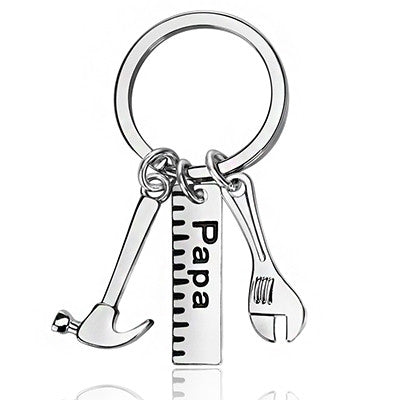 Personality Hammer Papa Dad Father Keychains Silver Zinc Alloy Keyring Fashion Car Key Holder Car Key Chain Fathers Day Gifts