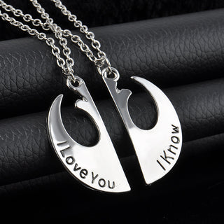 "Star War ""I love you"""" I know"" Charming Splice Pendant Necklace"