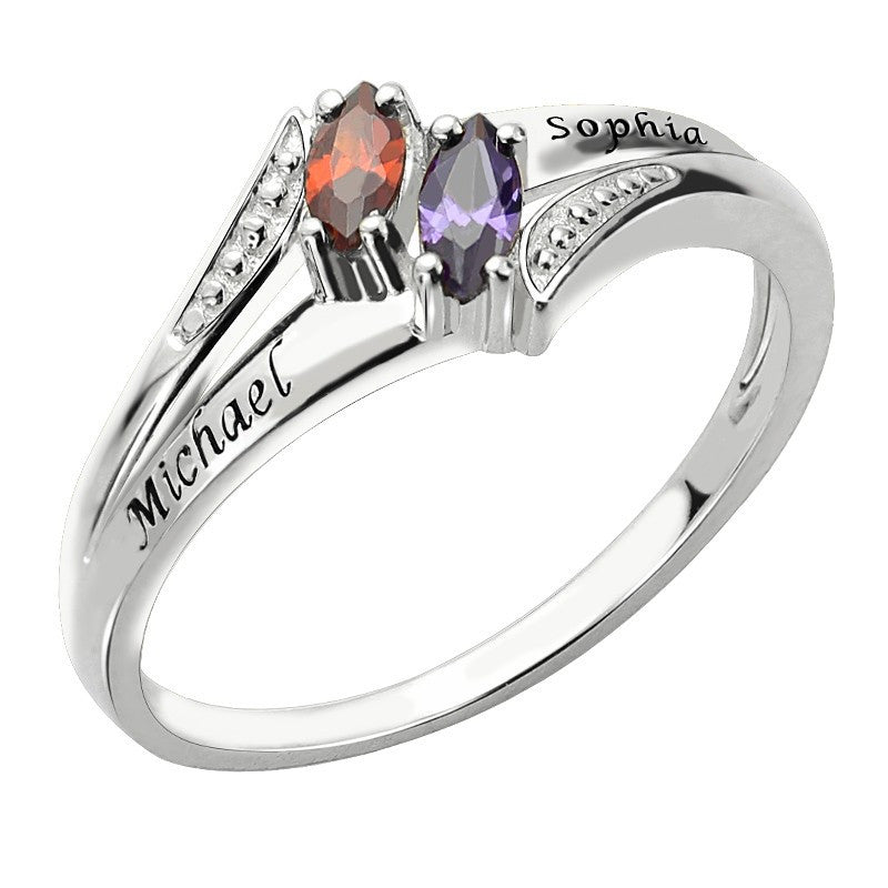 Personalized Birthstone & Name Ring - 925 Sterling Silver