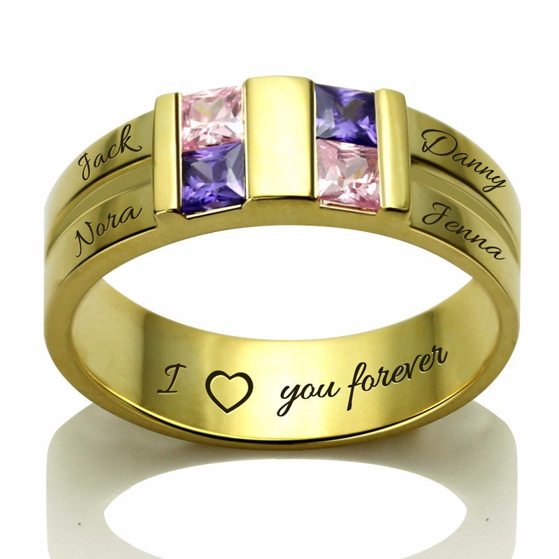 Four Stones and Names Personalized Family Ring