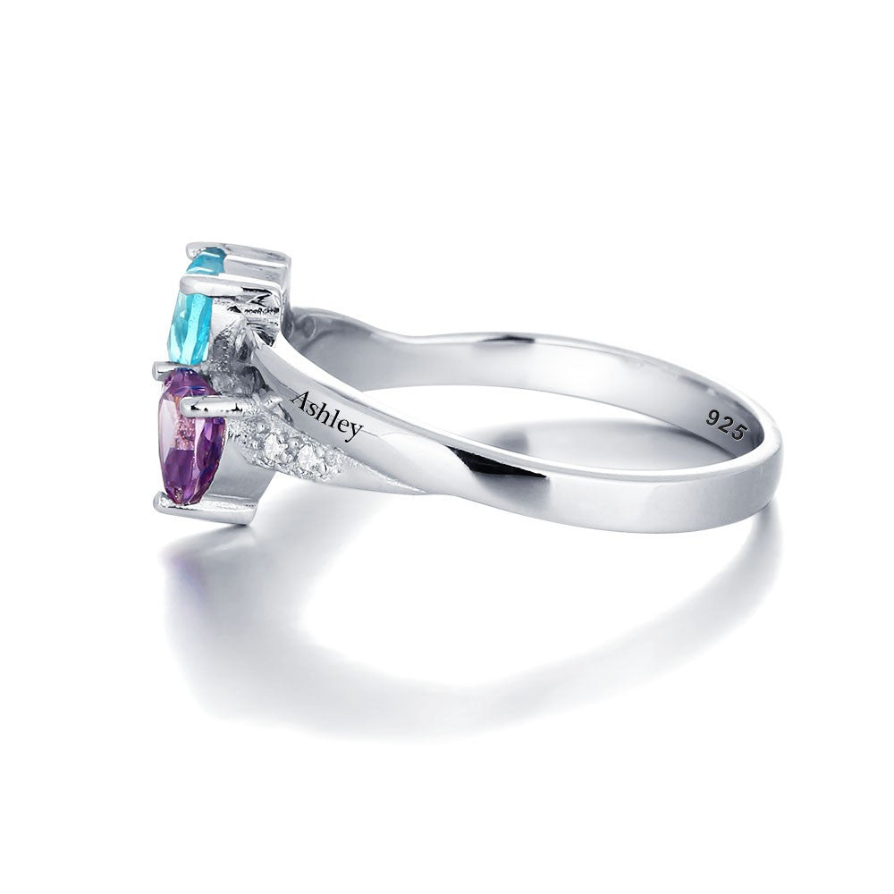 Customized Birthstone & Name Ring -925 Sterling Silver