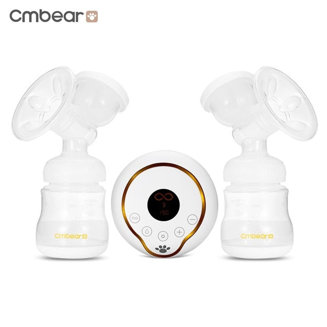 New 2018 Cmbear Double bottle Breast Pumps Large Suction PP material breast feeding automatic massage USB Electric breast pump