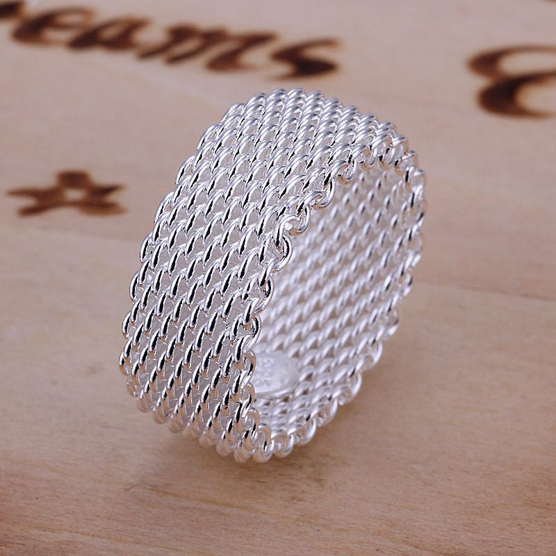 Net Pattern Silver Ring