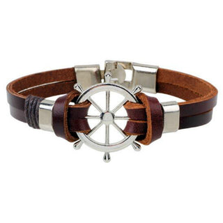 Leather & Stainless Steel Wheel Bracelet