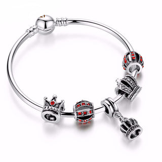 Royal Crown Silver Charm Bangle & Bracelet