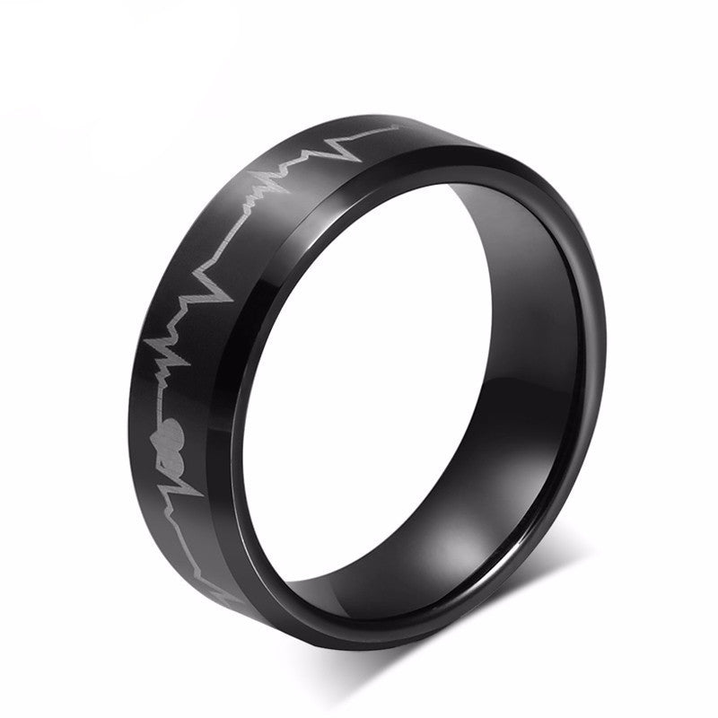 Pure Tungsten Electrocardiogram Men's Ring