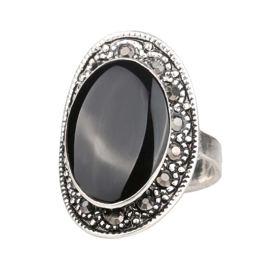 Vintage Oval Black Silver Plated & Crystal Ring
