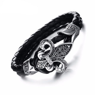Tribal Rope Leather & Stainless Steel Bracelet