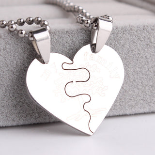 Family tree heart Stainless Steel pendant necklace