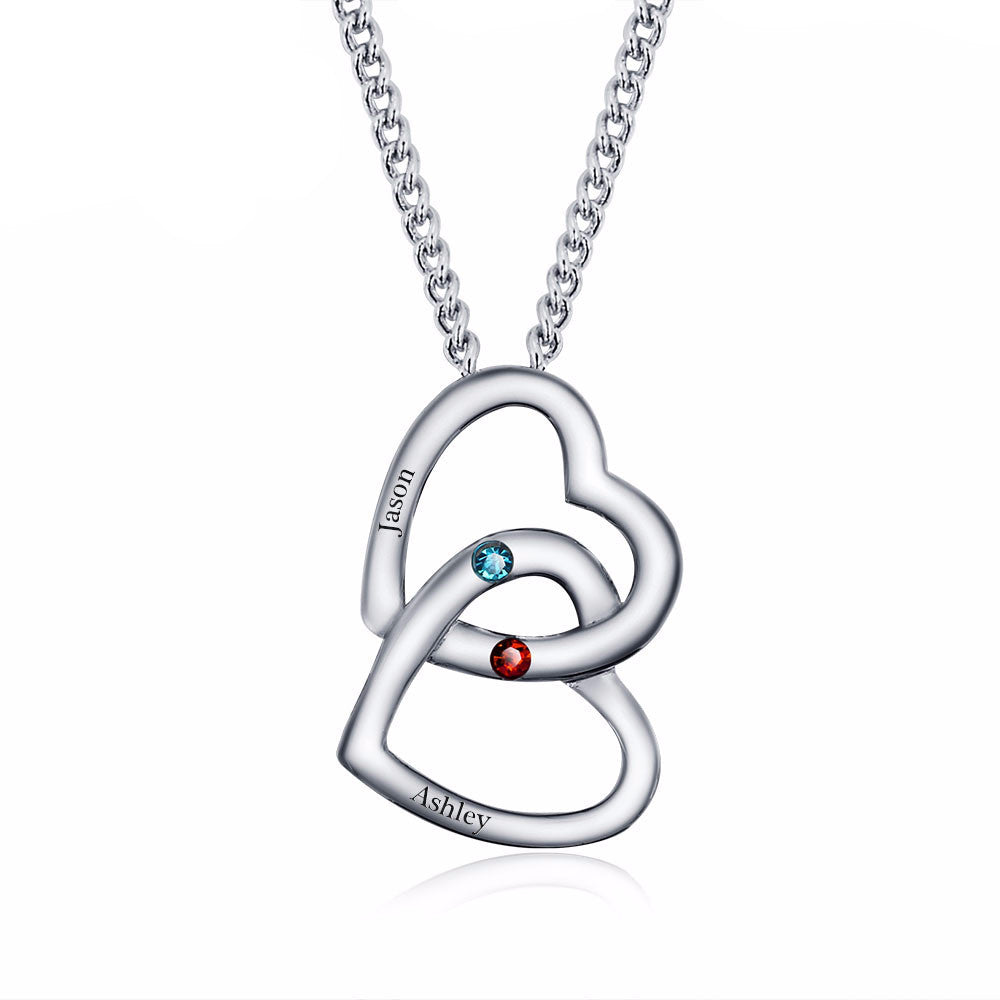 Merging Hearts Personalized Pendants Necklace with Birthstone