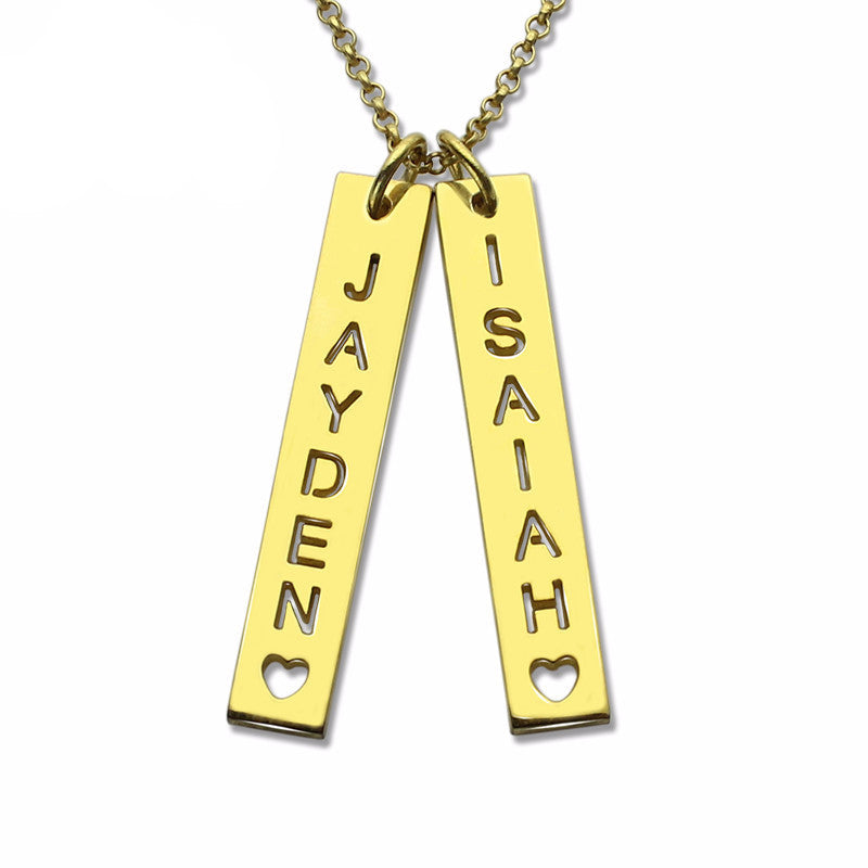 Vertical Bar Couples Necklace - Personalized With Your Name