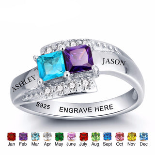 Couples Engrave Names & Birthstone Ring - 925 Sterling Silver