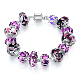 Silver Charm Bracelet with Purple Murano Glass Beads