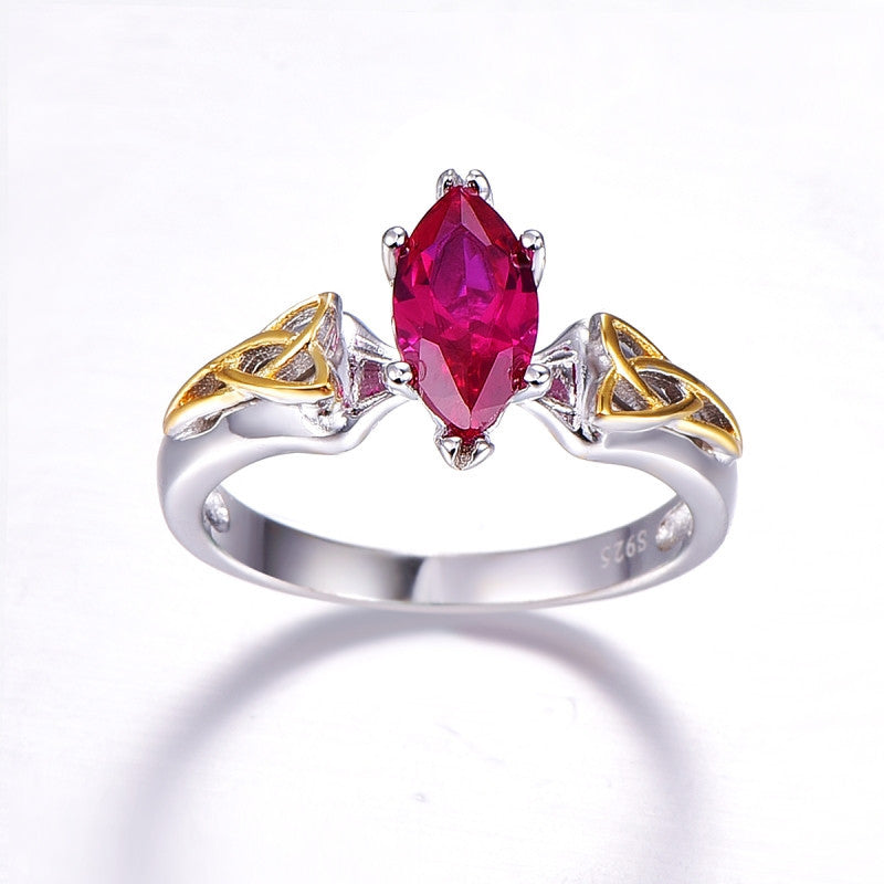 Marquise Cut Ruby - Solid 925 Sterling Silver Ring