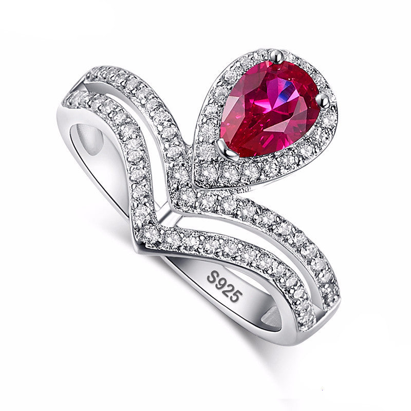 Water Drop Ruby Stone Crafted In .925 Sterling Silver Ring