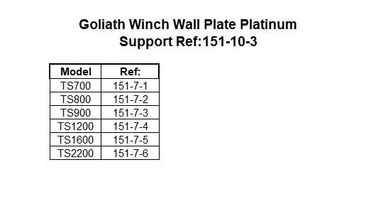 Goliath Winch Wall Plate Platinum Support Ref:151-10-3