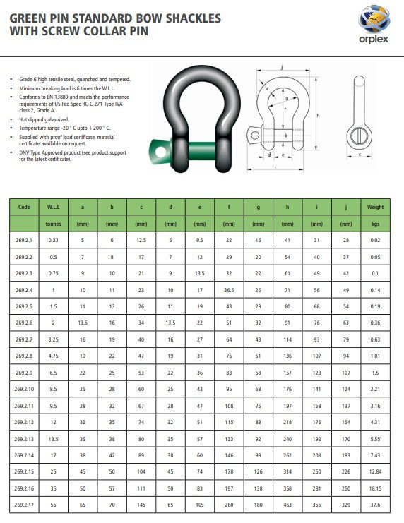Green Pin Standard Bow Shackles with Screw Collar Pin