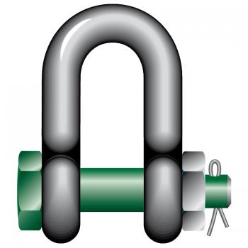 Green Pin Safety DEE Shackles with Bolt and Safety Nut
