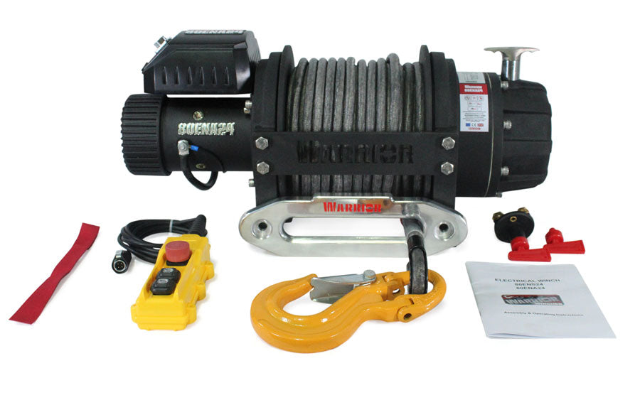 EN 8000 Electric Winch - Armortek Rope from Winchshop UK showing winch and accessories