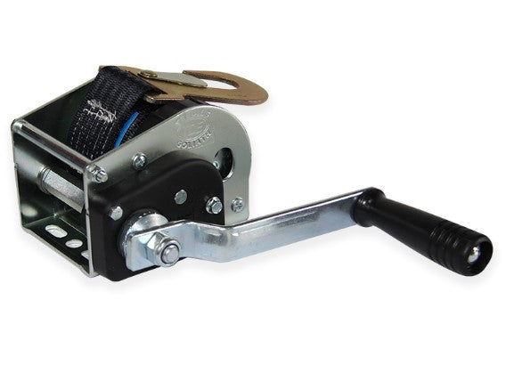 GO-AFDS - Goliath Zinc Plated Webbing Winch complete with 50mm webbing strap with hook