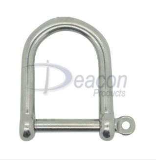 Stainless Steel Captive Pin Wide Jaw Shackle Ref: 166-16