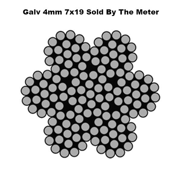 4mm By the Meter 7 x 19 Galvanised Wire Rope Ref: 162-3