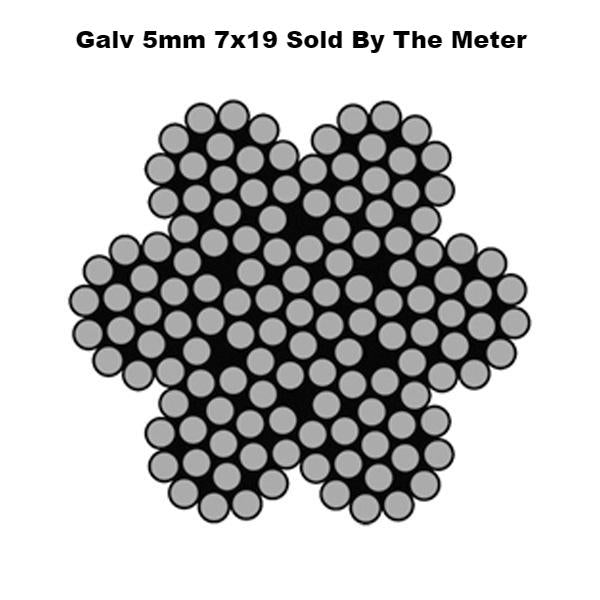 5mm By the Meter 7 x 19 Galvanised Wire Rope Ref:162-4-3