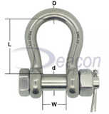 Load Rated Stainless Steel Safety Pin Bow Shackle (166-16)