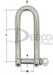 Stainless Steel Long Dee Shackle  with dims(166-16)