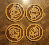 Polynesian Themed Tiki Coasters - Set of 4