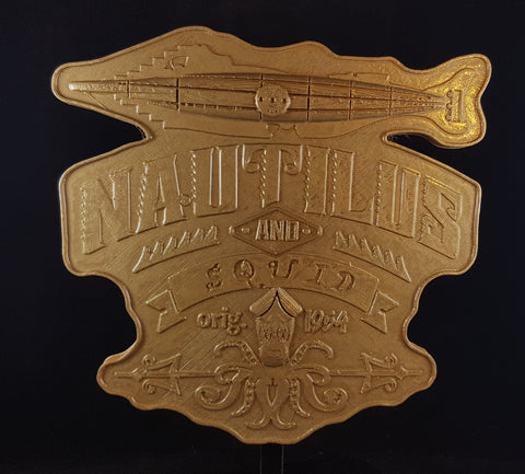 20,000 Leagues Under The Sea Former Disney Ride Inspired Sign / Plaque - Hammered Gold