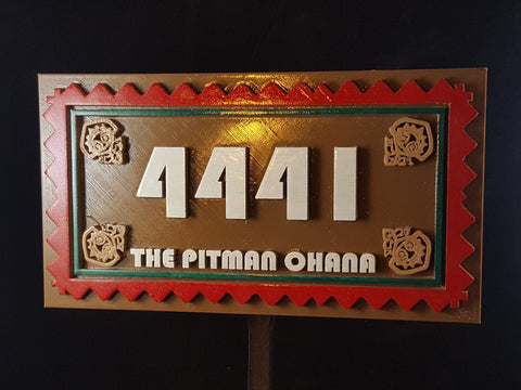 Personalized Polynesian Themed Address Plaque w/ Family Name
