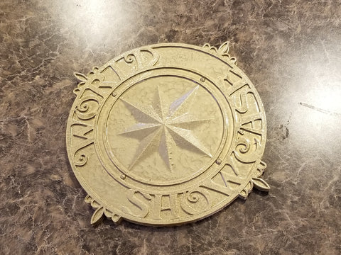 Full Scale World Showcase Medallion Inspired Sign / Plaque Prop Replica - Hammered Gold Coloring ( Vintage Disney Epcot Inspired Replica )