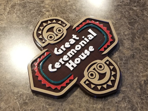 Full Scale Polynesian Themed Longhouse Sign / Plaque - Great Ceremonial House ( Disney Resort Polynesia / Park Tiki Replica Prop )