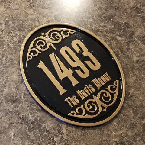 Personalized Haunted Mansion Inspired Address Sign / Plaque w/ Family Name Lettering ( Disney Home decor Prop Inspired Replica )