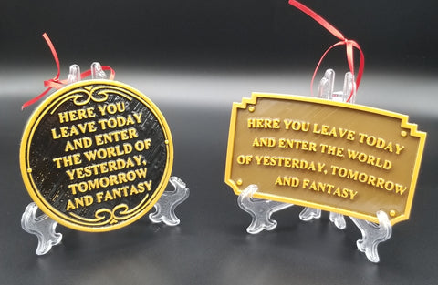 Main Street Entranceway Welcome Plaque Disney Inspired Sign Christmas Ornament Set ( Disney / Park Prop Inspired Replica )