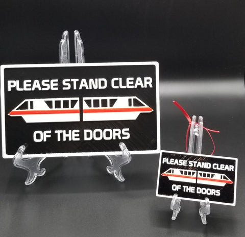 DW Monorail Please Stand Clear Of The Doors Plaque Inspired Sign & Ornament Gift Bundle ( Disney Home Decor Prop Inspired Replica )