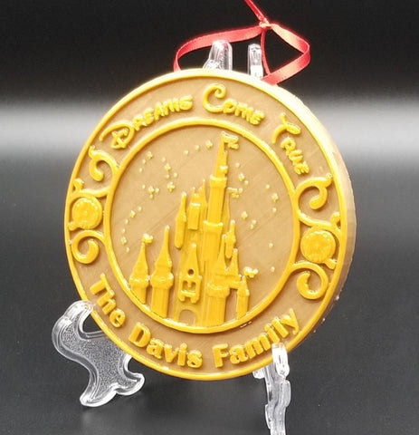 Personalized Main Street Disney Castle Inspired Christmas Ornament ( Customized Family Lettering )