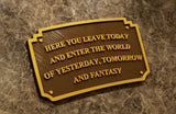 Main Street Entranceway Welcome Plaque DL Inspired Sign - Dual Brown / Gold Color