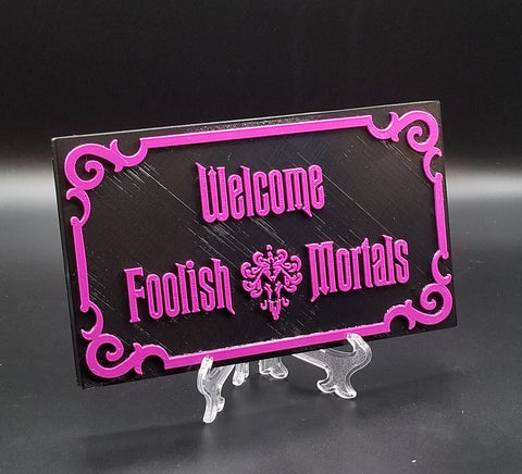 Haunted Mansion Inspired Prop Sign / Plaque Replica Welcome Foolish Mortals - Purple