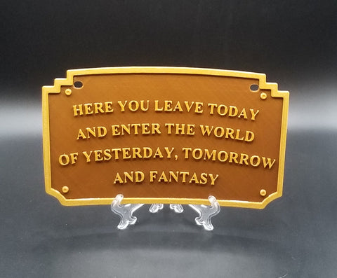 Main Street Entranceway Welcome Plaque DL Inspired License Plate Cover (Disney Prop Inspired Replica)