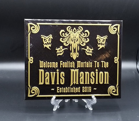 Personalized Haunted Mansion Inspired Home Welcome Sign / Plaque w/ Family Name Lettering ( Disney Home decor Prop Inspired Replica )