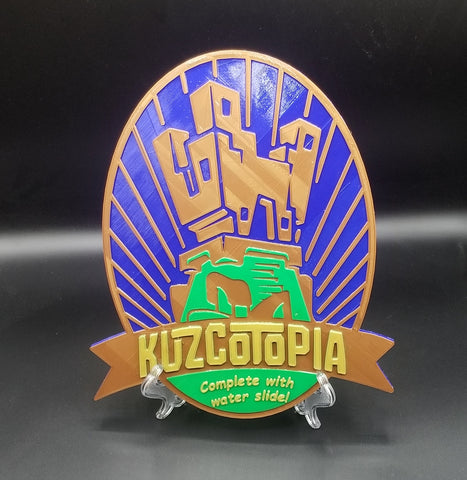 Kuzcotopia Complete with Water Slide Inspired Sign / Plaque - ( New Groove Inspired Prop Replica )