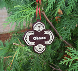 Polynesian Themed Ohana Christmas Ornament - Set of 4