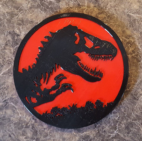 Jurassic Park Inspired Tyrannosaurus Rex Dinosaur Sign / Plaque - Dual Red / Black Color