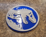 Jurassic World Inspired Tyrannosaurus Rex Dinosaur Sign / Plaque - Dual Blue / Silver Color