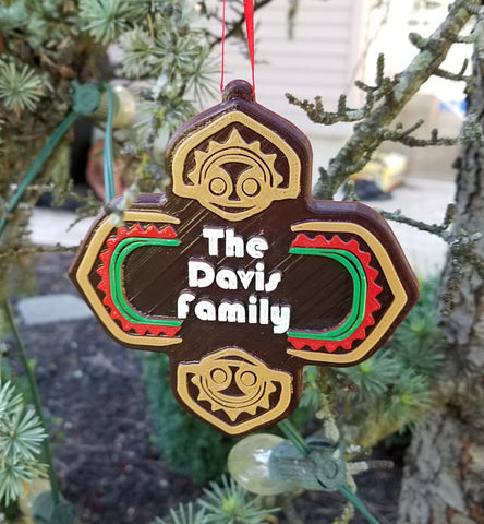 Personalized Polynesian Themed Family Last Name Christmas Ornament ( Disney Tiki Polynesia Resort / Park Prop Inspired Replica )