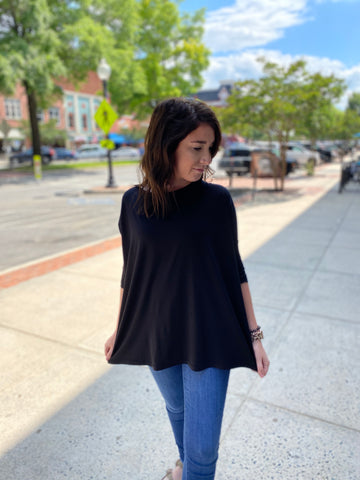 Navy piko 3/4 sleeve